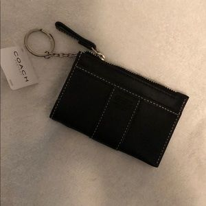 Black Leather Coach KeyChain Wallet